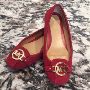 Michael Kors Red Suede Moccasin Flats